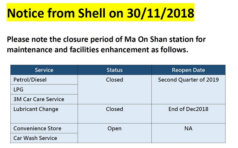 Notice from Shell on 30/11/2018 - Ma On Shan station closure